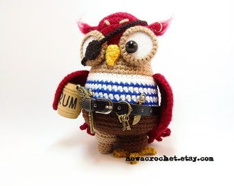 Pirate owl Corsairette - amigurumi PDF crochet pattern ebook