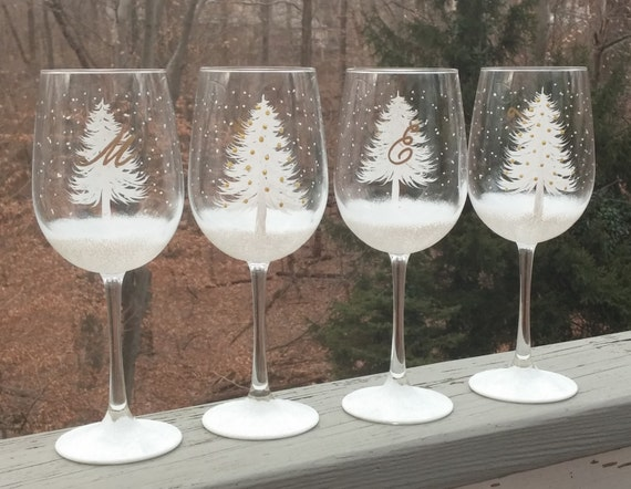 White Shimmery Christmas Tree Hand Painted Wine Glasses With Initials