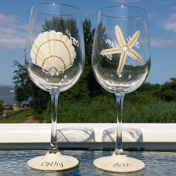 Beach Themed Hand Painted Wine Glasses Etsy