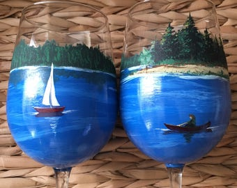 Loving the lake hand painted wine glasses