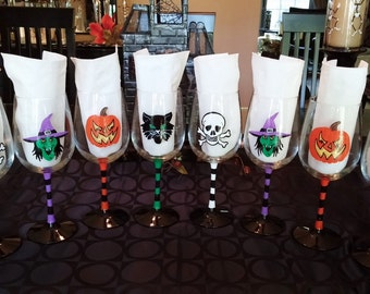 Halloween Party hand painted wine glasses.