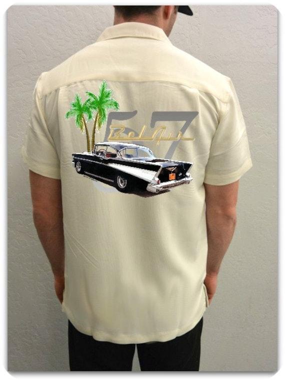 Men's Car Shirt 1957 Chevy Bel Air, Red, Vintage Car-Classic Car Shirt, Custom Car,Car Gift, for him,grandpa gift,father's day gift
