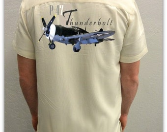 Men's Airplane Shirt-World War II-Aviation Shirt, Ivory-P-47 Thunderbolt, military gift,dad gift,veteran gift,aircraft