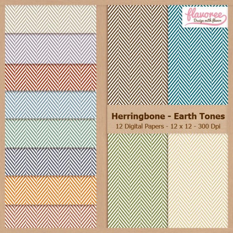 HERRINGBONE EARTH TONES Digital Scrapbook Paper Pack Basic Background Fabric Texture Lines Coupon: BUY3GET20OFF Scrapbooking