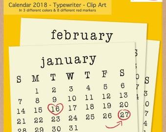 2018 TYPEWRITER CALENDAR - Scrapbook Clip Art - Printable Digital Monthly Calendar  - Instant Download
