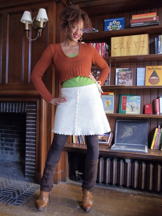 Stunning cable-knit miniskirt made with Videnovich Farms handspun wool!