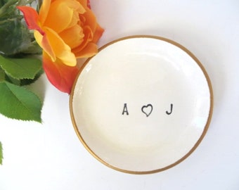 Engagement Gift, Party Favor, Monogrammed dish, Ring Dish, Bridesmaid Gift, Ring holder, Wedding Gift, Gift Boxed, Made to Order