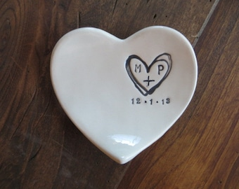 monogram ring dish, engagement ring holder,  custom ceramic  heart shaped jewelry bowl,  Black and White Pottery, Made to Order