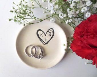 ring dish, ring holder, engagement gift, custom wedding gift,  monogram dish, bridal shower gift, custom engagement gift, Promise Pottery