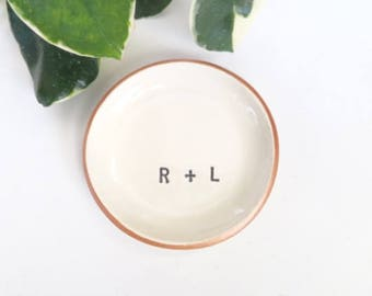 wedding ring dish, ring holder, Rose Gold, engagement gift, wedding gift, Pink Gold, Custom monogram, Bridal Shower gift,  Made to Order