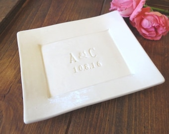 Personalized Wedding Gift, Anniversary Gift, Engagement Gift, Rectangular Dish, Small Platter, Housewarming Gift, Gift Boxed