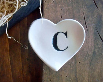CLEARANCE, ring dish, Monogram ring holder, jewelry dish,  initial tray,  Black and White,  Gift Boxed, IN STOCK, limited quantity