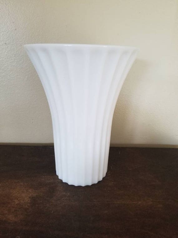 Vintage Milk Glass Tall Ribbed Vase With Fluted Opening