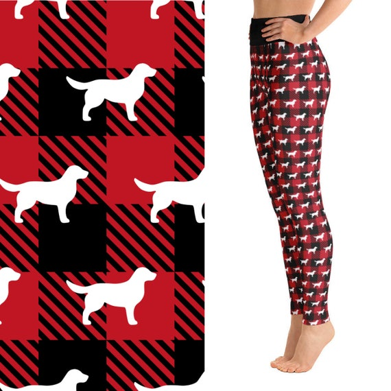 Black and red checkered print leggings with white Golden Retriever pattern.