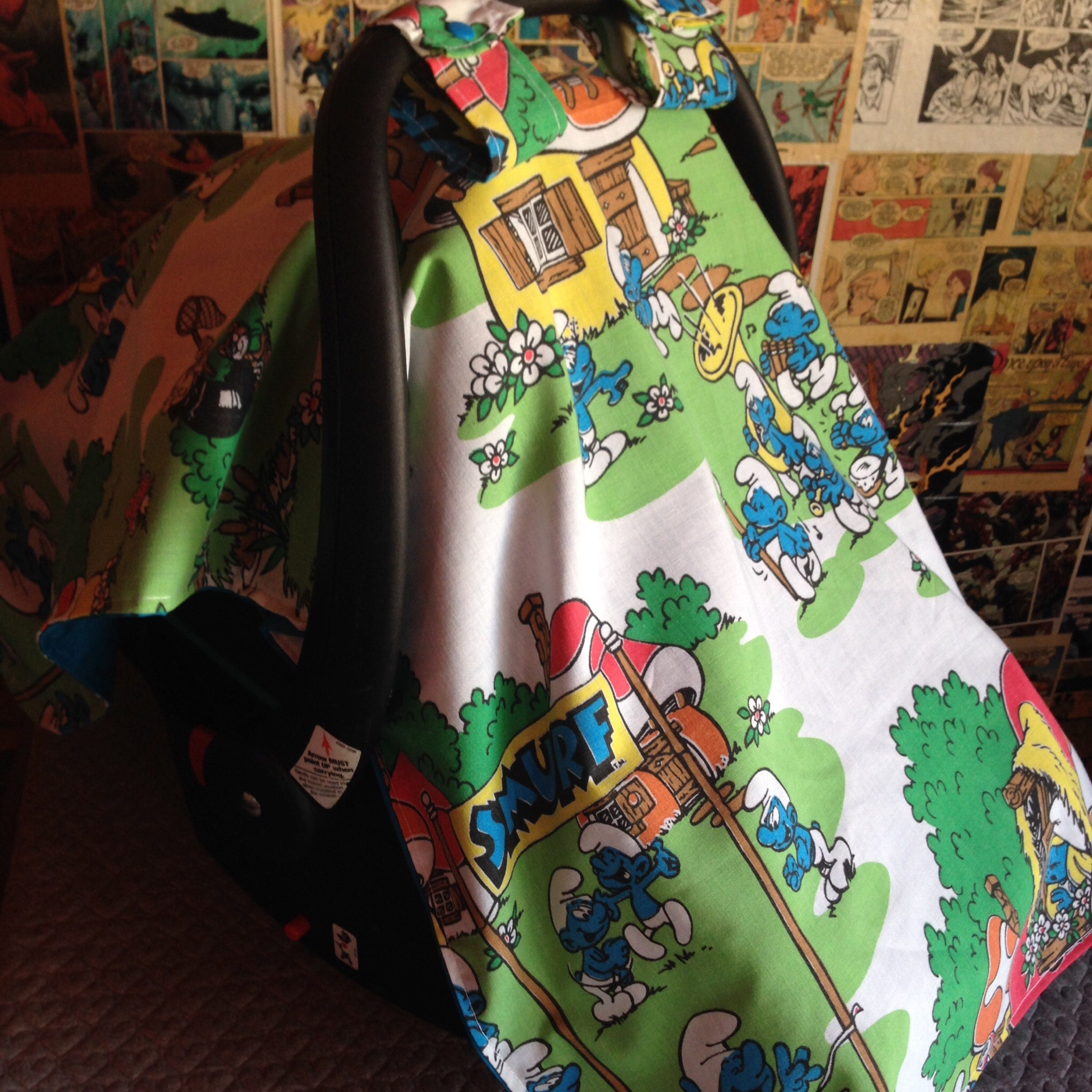 Awesome Vintage Smurfs Car Seat Cover Camellatalisay Diy Chair Ideas Camellatalisaycom