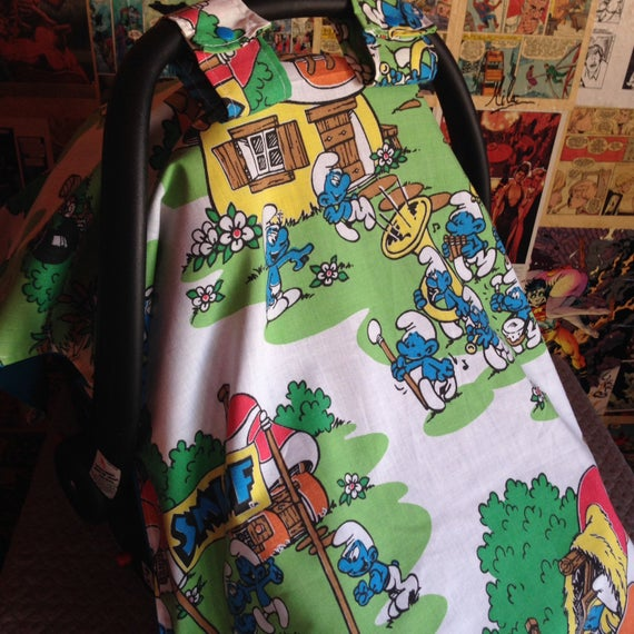 Tremendous Vintage Smurfs Car Seat Cover Camellatalisay Diy Chair Ideas Camellatalisaycom
