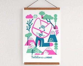 Art Print, Vibrant, Fun Foxy A3
