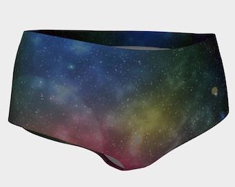 Galaxy Printed Athletic Mini-Shorts