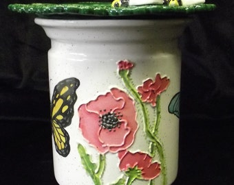 Handmade African Violet Pot Coral Anemone and Butterflies with Bees