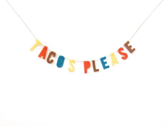 Tacos Bitte Filz Zimmer Banner Zierliche Taco Girlande In | Etsy