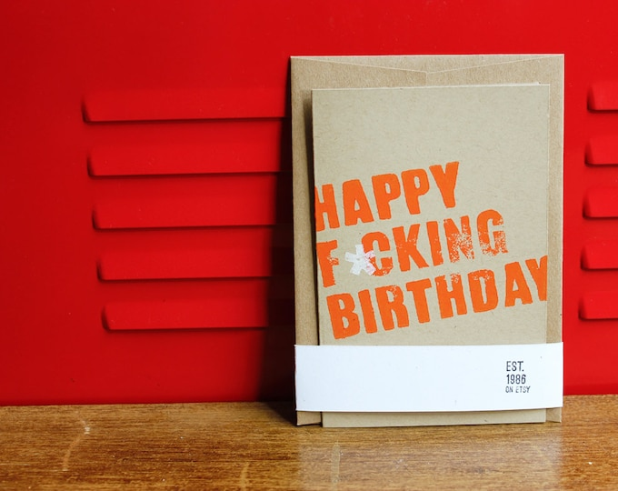 Funny Birthday Card (REDUCED 2-PACK) Linoleum Block Card with Envelope
