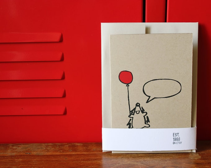 Happy Hedgehog Greeting Card, Silkscreen Card w/envelope