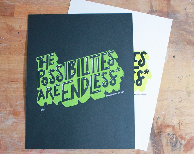 Funny Silkscreen Poster - The Possibilities Are Endless* Some Restrictions May Apply