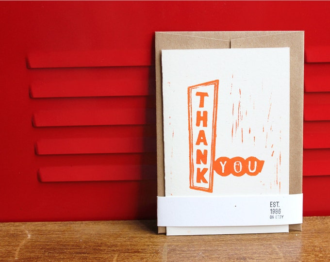 Retro Thank You Card, Linoleum Block Print w/envelope