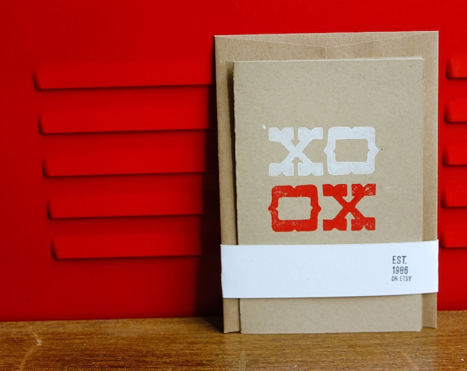 Simple Folded Card - XO, Linoleum Block Print w/envelope