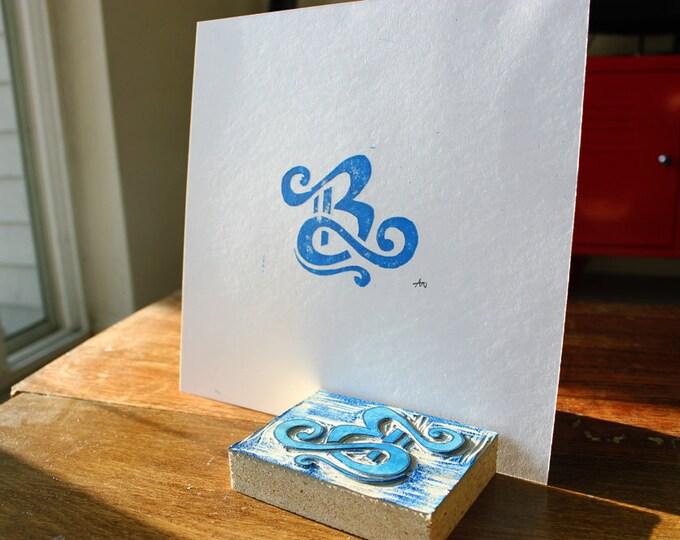 Simple Linoleum Print Poster - Letter B
