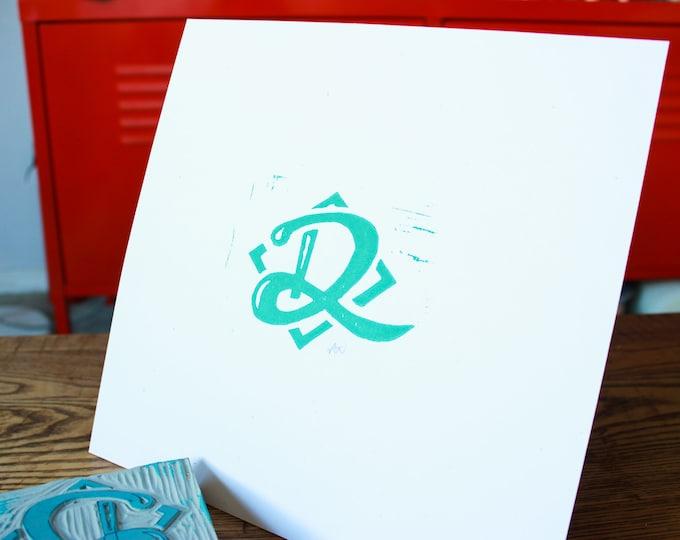 Simple Linoleum Print Poster - Letter D