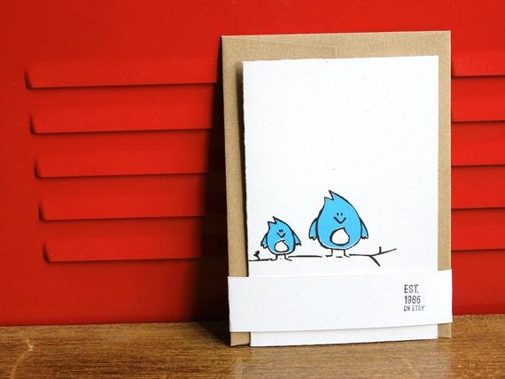Simple Greeting Card - Bluebirds, Silkscreen Card w/envelope