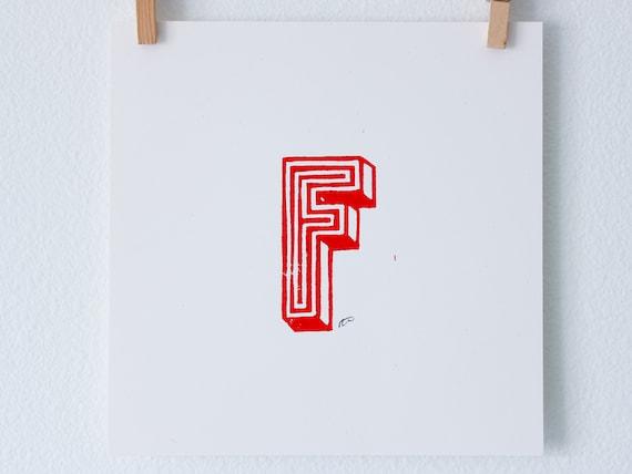 Simple Linoleum Print Poster - Letter F