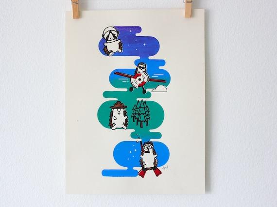 Cute Silkscreen Poster - Hedgehog Adventurer