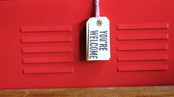 Funny Hang Tags - You're Welcome, Linoleum Block Gift Tags (5-pack)