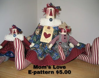 Mom's Love Instant Downloadable E-pattern, Mother's Day Gift, Mom's Gift, Handmade, Made in the USA, Raggedy Ann, Raggedy Andy, Doll pattern