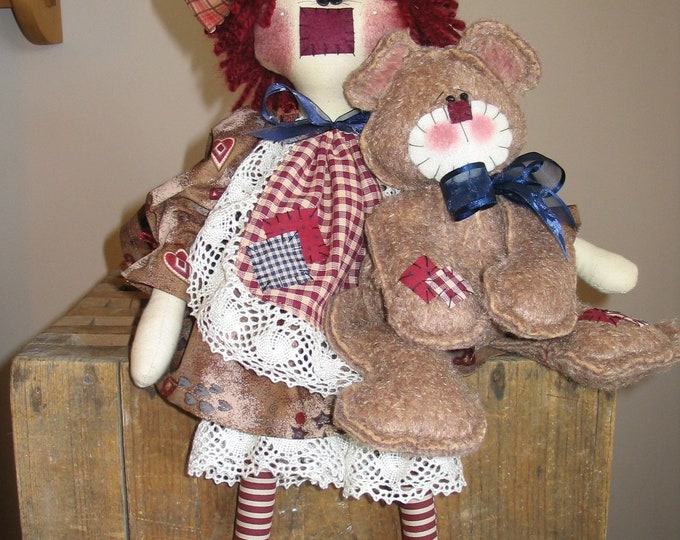 Annie and Snuggles E-pattern, My Darlin Dolls original, Raggedy Ann, Teddy Bear, Sewing, Sewing Patterns, Everyday Dolls, Primitive Doll