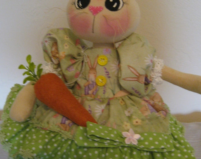 Simply Bunny, Handmade Finished Bunny, Easter Decor, Summer Decor, Finished Doll, Holiday Decor, Cloth Dolls, Primitive Bunny,