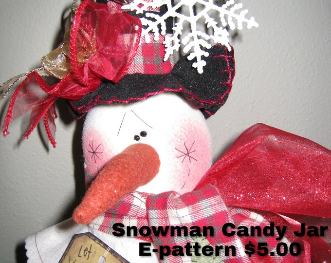 Stovepipe Hat Snowman Candy Jar, Tee Light, Patterns, Winter Dolls, Holiday items, Christmas in July, Primitive Country Doll, Kerr Mason Jar