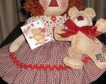 TEDDY BEAR HUGS, Raggedy Ann, Teddy Bear, Finished Dolls, Handmade Original design by My Darlin Dolls, Gift Idea, Home Decor,