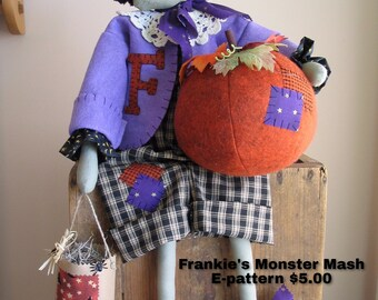 Frankie's Monster Mash Instant Downloadable Pattern, My Darlin Dolls, Halloween Decor, Frankenstein, Halloween Doll Pattern
