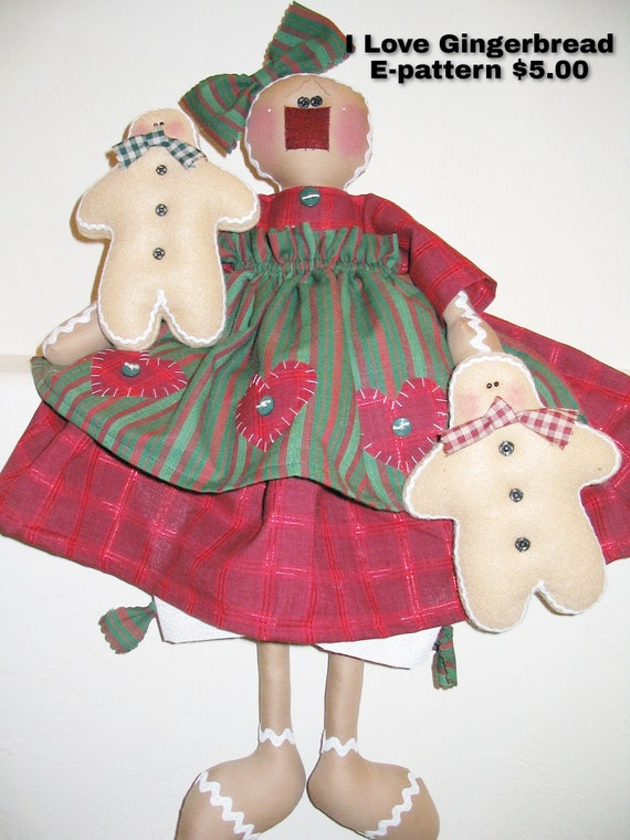 I Love Gingerbread E-pattern, Gingerbread Doll, Holiday Decor, Christmas Decor, Handmade, Sewing Pattern, Holiday Gifts, Downloadable