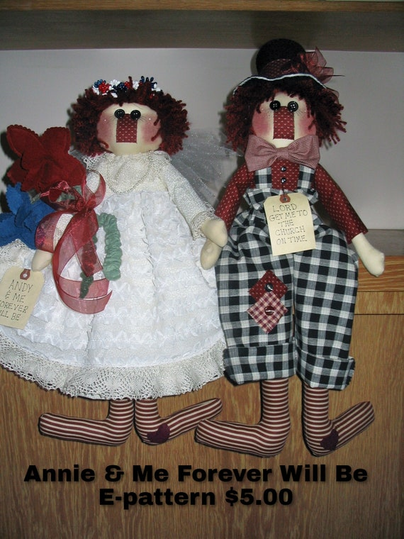 Andy and Me Forever Will Be E-pattern, Raggedies, Rag Dolls, Special Occasion, Wedding Dolls, Raggedy Ann & Andy Pattern, Wedding gift