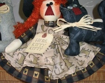 I Love Cats Instant Downloadable E-pattern, Witch Pattern, Witch Doll, Halloween Decor, My Darlin Dolls, Handmade, Made in the USA, Sewing