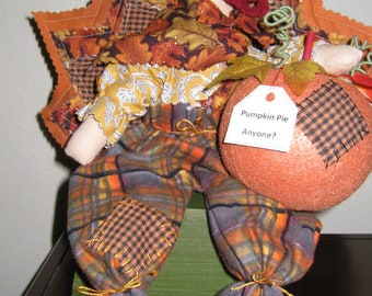 Pumpkin Pie Anyone?, Handmade, Primitive Country, Turkey, Finished Doll, Holiday Decor, Thanksgiving Decor, Cloth Doll, Made in USA