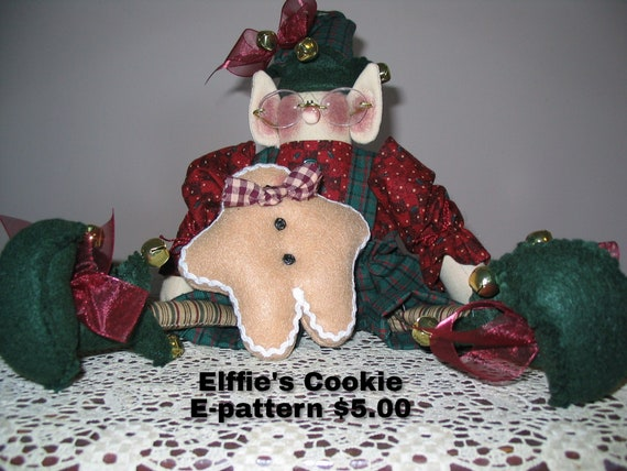 Elfie's Cookie Downloadable Pattern, Elf, Holiday Decor, Christmas Decor, Shelf Sitter, Tree Ornament, Elf Doll Pattern, Holiday Gift to Sew
