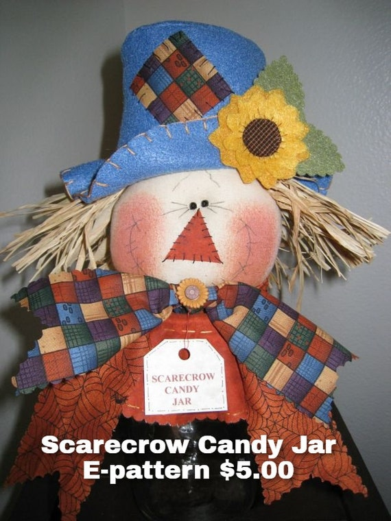 Scarecrow Candy Jar, Fall Dolls, Candy Jar, Downloadable Pattern, Holiday Decor, Fall Decor, Gift Item, Sewing pattern, Doll patterns