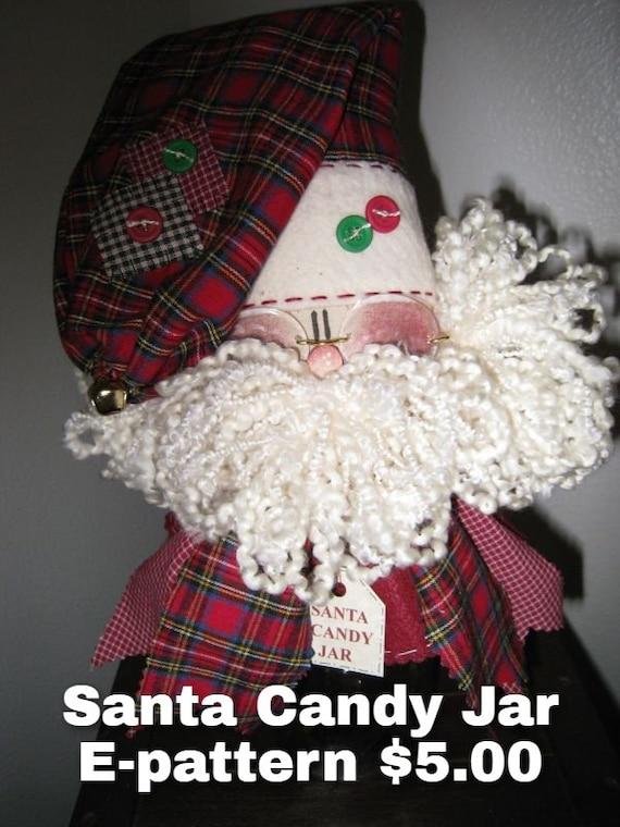 Santa Candy Jar Dowloadable Pattern, Christmas Decor, Holiday, Decor, Candy Jar, Mason Jar, E-pattern, My Darlin Dolls, Made in USA