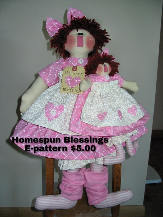 Homespun Blessings Instant Downloadable Pattern, Country Primitive Dolls, Handmade Dolls, Dolls made in the USA, Raggedy Dolls, Pink Dolls