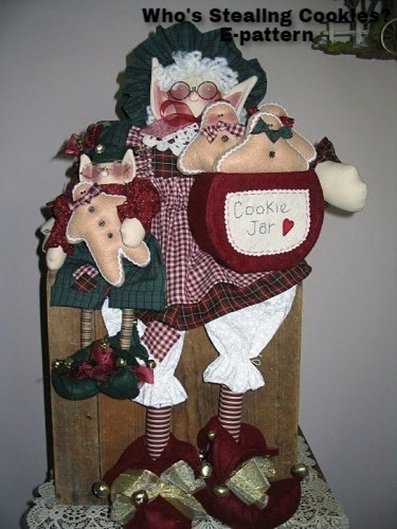Who's Stealing Cookies Instant Downloadable Pattern,  Christmas Decor, Holiday Decor, Mrs. Claus Doll with Elf, Handmade in the USA